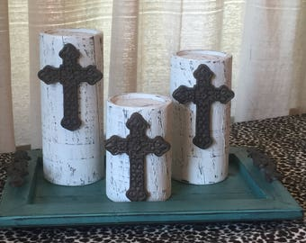 Wooden Candleholders (set of 3)  White with Metal Cross