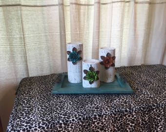 Wooden Candleholders (set of 3) White with Turquoise, Orange and Green Flowers
