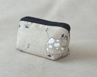 Linen Cosmetic and makeup  Zipper Pouch with cute cow