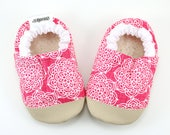 pink flower shoes pink booties shoes pink moccs mandala soft sole shoes lotus flower rubber sole rubber toe toddler moccs vegan slippers
