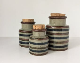 Stoneware Canisters With Cork Tops, Set of 3 Food Storage Jars, Blue and Brown Stripe, Kitchen Storage Crocks, Made in Japan