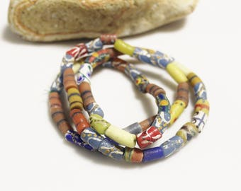 Colorful African Bead Strand Recycled Glass Beads, Jewelry Supplies (*AJ309*)