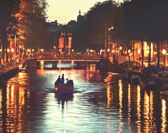 Boat Photography, Amsterdam Art, Night Lights Print, Travel Photography, Boat Print, Wall Art Print,  Amsterdam Photography, City Lights