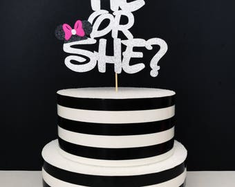 Disney gender reveal cake topper- minnie and mickey cake topper gender reveal cake topper