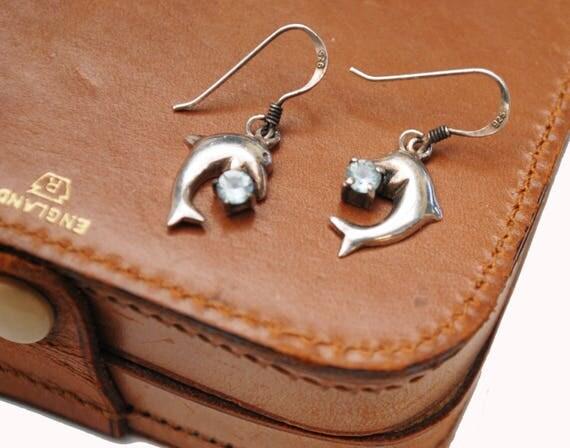 Sterling Dolphin blue topaz EArrings- Birthstone - light Blue gemstone - sea life - figurine earrings