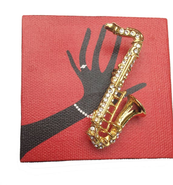Saxophone  Brooch - gold - rhinestone- music instrament - figurine pin