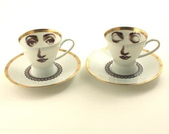 Coffee Set, Wedding Coffee Gift, Set for 2, Face Art, Vintage Porcelain Cup, Lina Cavalieri, Espresso Cup, Lace, Whimsical Art, Altered Art