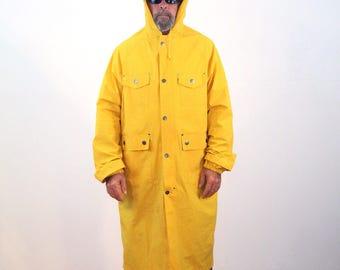 90s Industrial Raincoat XL, Extreme Weather Raincoat, Hooded Raincoat, State Trooper Raincoat, Yellow Rain Coat, Mens Raincoat, Extra Large