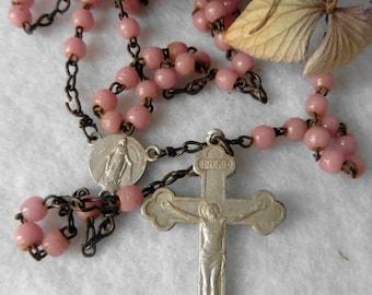 Antique French Catholic Crucifix Pink Glass Chapelet Rosary, Virgin, Jesus, Art Nouveau, Christ, Mary, Religious, Cross, Communion, Baptism