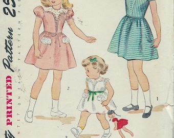 """Vintage 1940 Simplicity 2565 Girls' One-Piece Dress Sewing Pattern Size 5 Breast 23 1/2"""""""