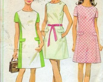"Vintage 1969 Simplicity 8083 Mod Dress Sewing Pattern Size 10 Bust 32 1/2"""