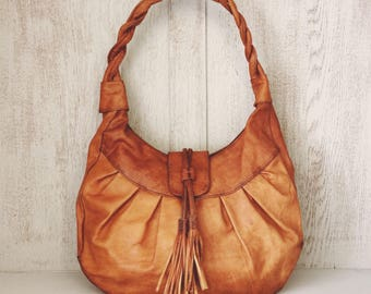 Leather handbag // Boho slouch purse // Soft genuine Leather // Gifts for her // Tassel // Brown // Unique // Natural // Grace