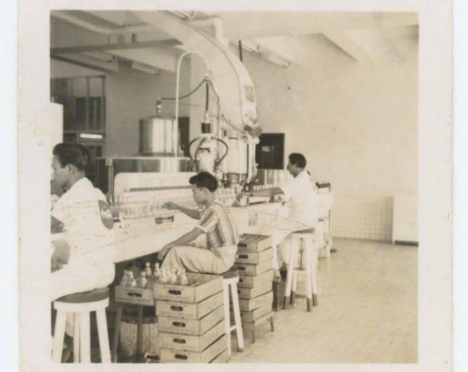 SAN MIGUEL Brewery Philippines Workers Coca Cola Bottling Line c1940s Vintage Snapshot Photo (78598)