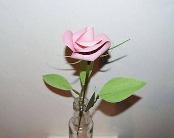 Single Pink Rose in a glass bottle, paper flower art