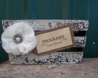 Programs Holder - Rustic Wedding Program Holder - Program Box - Wedding Program Box - Wedding Programs - Barn Wedding - Burlap Wedding
