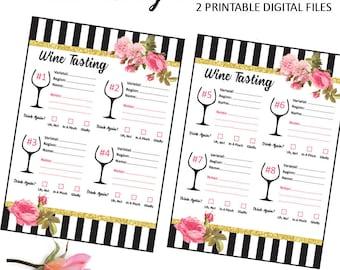 Kate Wine Tasting Score Cards - Wine Tasting - Wine and Cheese Pairing - Wine Rating - Wine Notes - Wine Bridal Shower - Wine Birthday