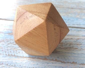 Icosahedron wood hand made sacred geometry platonic solid
