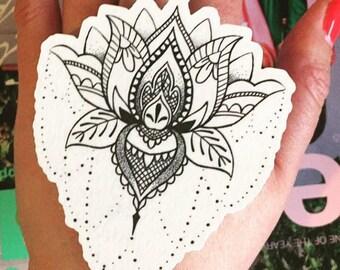 Lotus Temporary Tattoo - Lotus Tattoo - Fake Lotus Tattoo - Large Lotus Temporary Tattoo - Henna Temporary Tattoo - Henna Lotus - Bohochic