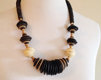Vintage Beaded Black and Brown Wooden Tribal Necklace