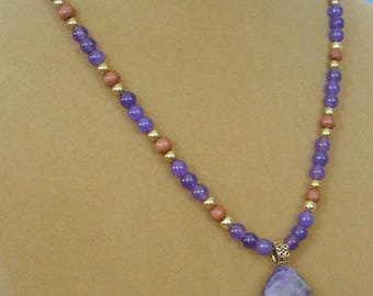 """Gorgeous 18"""" Amethyst and Wood Necklace - N543"""