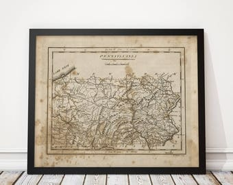 Old Pennsylvania Map Art Print 1816 Antique Map Archival Reproduction