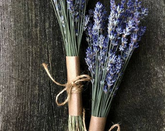 Organic Dried English Lavender Bud and Stem Bundles for Flower Arranging, Country Home Display, Wedding Favors, Bouquets