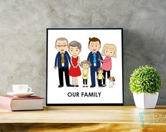 Cartoon Family - Personalized Christmas Gifts - Unique Gift Ideas - Cartoon People - Cartoon Portrait - Family Gift - Christmas Gift Ideas