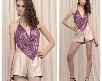 disco vintage 70s/80s WHITING & DAVIS purple metal mesh chainmail backless halter top