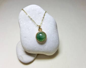 Delicate Gold Necklace, Gold Gemstone Pendant Necklace, Dainty Gemstone Pendant, Round Gemstone Necklace, Aventurine Necklace, Silver 925
