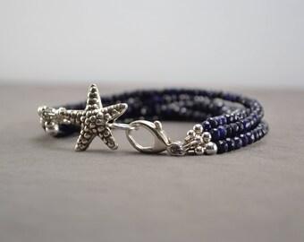 Sapphire Bracelet, Multi Strand Bracelet, Blue Bracelet, Blue Sapphire Bracelet, Starfish Bracelet, Blue Gemstone Sterling Silver Bracelet