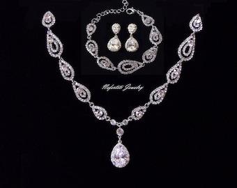 Bridal jewelry etsy bridal jewelry set silver art deco wedding necklace crystal wedding jewelry bridal necklace vintage wedding junglespirit Gallery