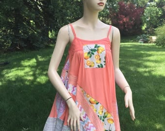 Handmade Tank Cotton 100% Unique Medium Size 8 10 Top Upcycled Short Dress Patchwork Gypsy Style Breathe Clothing Summer Unique Top Vacation