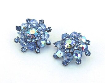 Weiss Light Blue Earrings ~ Vintage  Crystal Glass Rhinestone Clip Ons w/ AB Rhinestones