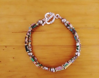 Small, delicate Flower Tube Bead Double Strand Bracelet with Silver Spacers and Heart Toggle Clasp