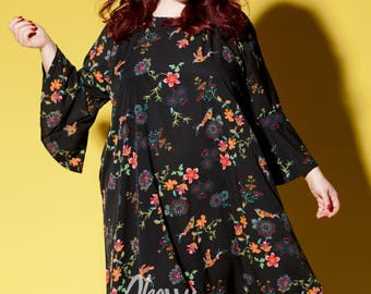 Plus Size Floral Maxi Dress – Black Floral Dress with Bell Sleeves and Pockets Plus Size and Regular Sizes