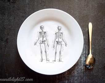 Skeleton, Anatomical Plate,  Gothic Decor, Goth Gift, Halloween Decor, Anatomical, Halloween Gift, Halloween decoration, Hand Pressed, Plate