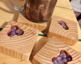 Amethyst Coasters, Wooden
