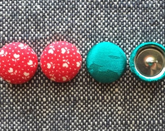Fabric Covered Button Earrings / Red and Green / Holiday Gifts / 2 Pairs / Wholesale Jewelry / Stocking Stuffers / Studs / Christmas Present
