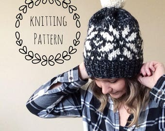 Snowflake Toque, Double Brim Knit Hat, Double Brim Hat, Knit Hat, Knit Beanie, Knitting Pattern, Fair Isle, Knit Beanie