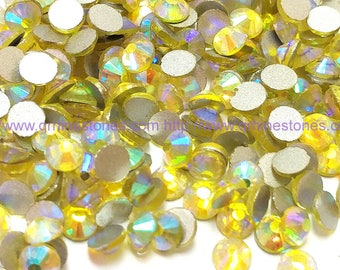 144pcs Yellow Citrine AB Flat Back Crystal Rhinestone Aurora Borealis Effect 4mm 5mm