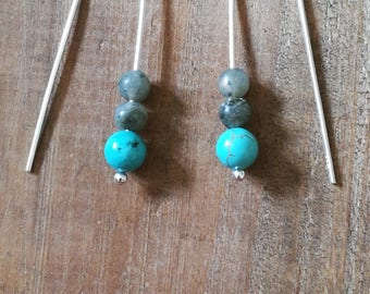 Sterling Silver drop earrings with Turquoise and Labradorite gemstone beads
