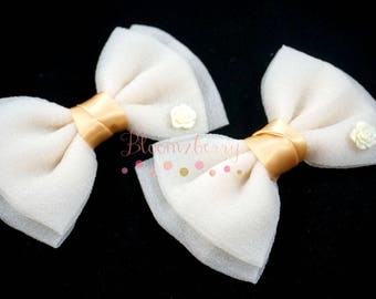 "2 pcs set 5.5"" Classic Bows  - No Clip - Ivory Color- Large Veil Bows - Birthay Party/Baby Shower/Craft Project - Hair Accessories Supplies"