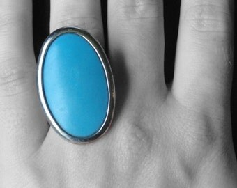 Vintage Silver Tone Turquoise Ring Size 7-8