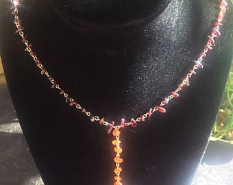 Garnet and Carnelian 14k Gold Filled Y Necklace
