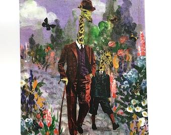 Giraffe Art Print | 8x10 Retro Giraffe Wall Art | Father and Son Art | Dapper Animal Art | Dapper Giraffe Art | Fancy Animal Print