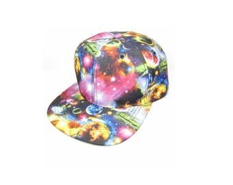Custom Galaxy Snapback Solid Planets Cosmic Stars Colors Multicolor Snap Back