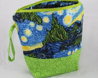 """Starry Night - Sew Sarandipity Small Knitting Project Bag 9""""x 9"""" x 4""""  w/ Zipper, Wrist Strap, Roll Top, Flat Bottom, Lined, Lightly Quilted"""