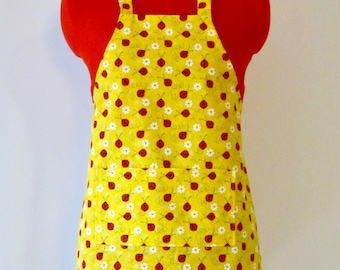 Kids Apron - Yellow Ladybug Childrens Apron - Childs Apron - Kitchen Accessory