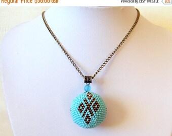 15% SALE Geometric Blue Ball Pendant - Globe Pendant - Bead crochet pendant - Modern Pendant Necklace - Ornament pendant - sky blue, brown n