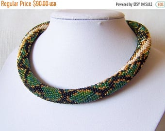 15% SALE Green Snake necklace - Bead Crochet  necklace - Snake skin necklace - Python skin necklace - Beadwork Jewelry - modern necklace